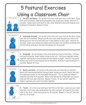 Pediatric PT Activity of the Week: 5 Postural Exercises Using a Classroom Chair  - Pinned by @PediaStaff – Please Visit  ht.ly/63sNt for all our pediatric therapy pins