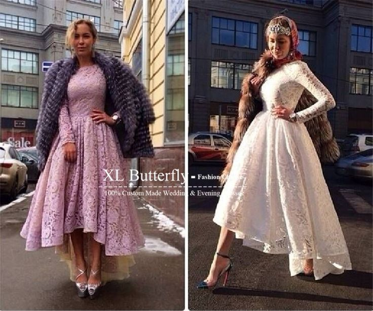 Custom made Crew Neckline White Lace Long Sleeve Evening Dress 2015 New Fashion High Low Modest Formal Gowns Arabic Style-in Evening Dresses from Weddings & Events on Aliexpress.com | Alibaba Group