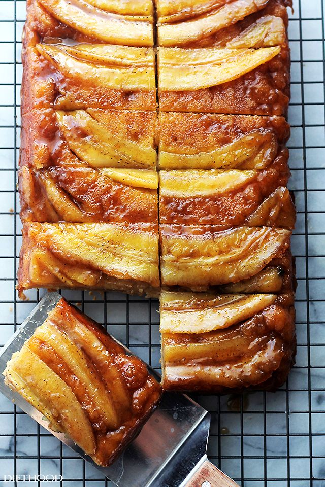 Bananas Foster Upside Down Cake - The classic and very delicious Bananas Foster Sauce on top of a lovely, rich and flavorful cake.