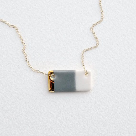 Medium Gold-Dipped Porcelain Bar Necklace in Gray, Blush Pink, Teal, or Royal Blue    This piece began as a bit of wet porcelain clay. It was