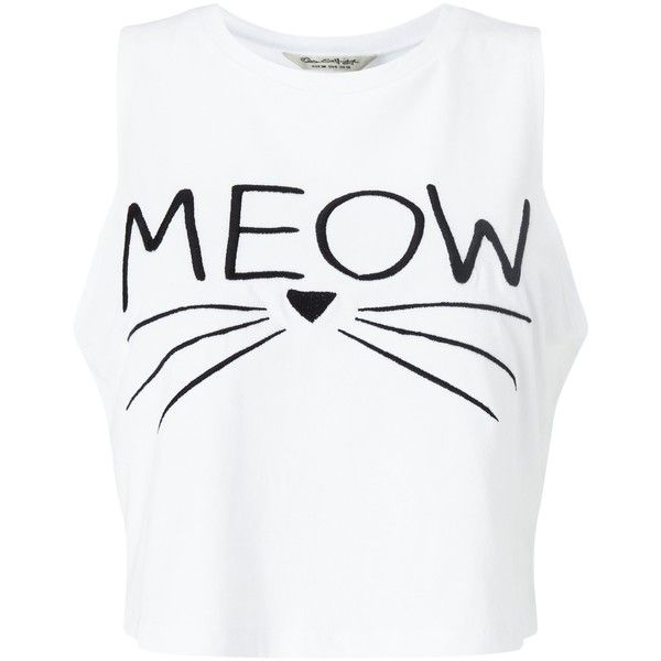 Miss Selfridge Petite Meow Slogan Vest, White (€11) ❤ liked on Polyvore featuring tops, shirts, crop tops, tank tops, petite, cotton tank tops, white cotton shirt, crop tank, white sleeveless vest and no sleeve shirt