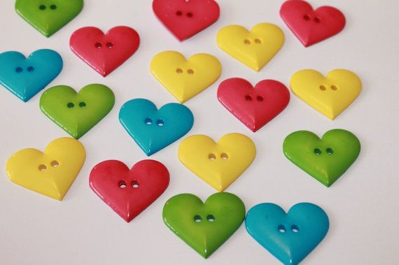 Large heart buttons mixed color heart by BeadsButtons4Crafts