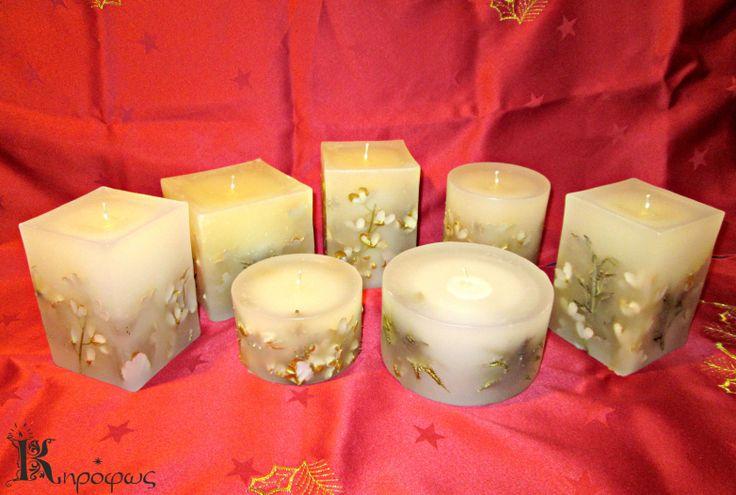 Χρυσά χριστουγεννιάτικα κεριά