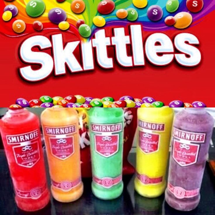 SKITTLES INFUSED VODKA!!  1⃣ Sort out the Skittles by Color into different piles (10 Skittles to 1oz of Vodka). 2⃣ Put the Skittles into empty Vodka Bottles. 3⃣ Fill Bottles with Vodka (Unflavoured) and let sit for 2 days. 4⃣ Shake well. Strain fluid with paper towels to get rid of white residue. Refrigerate or chill in the freezer. 5⃣ Enjoy! Remember, this is straight up vodka and it's strong so you may serve as a martini, with Sprite or on the rocks with w