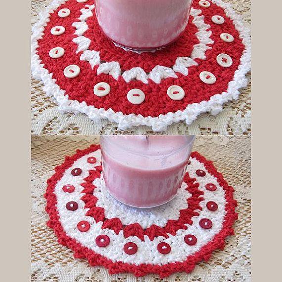 Valentine Candle Mat Con Botones ganchillo por HandandHookCrochet