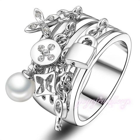 Key  pear and Lock adorns antique silver rings