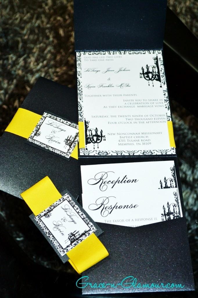 Black and Yellow Wedding Invitations watermark 58