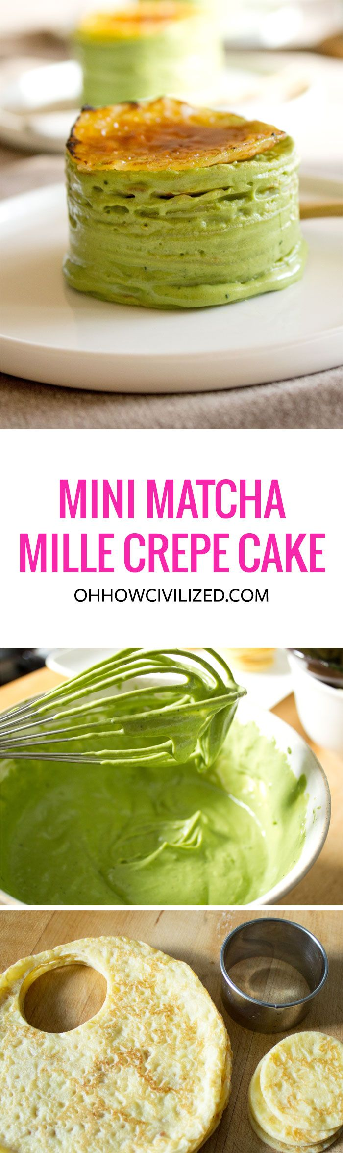 Mini #Matcha (Green Tea) Mille Crepe Cake