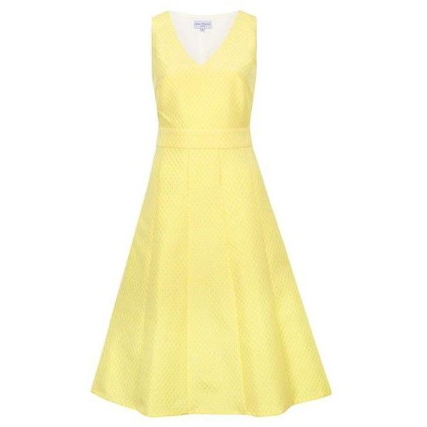 Yellow Brocade Cut Out Prom Dress ❤ liked on Polyvore featuring dresses, party dresses, beige cocktail dress, a line prom dresses, summer cocktail dresses and yellow cocktail dress