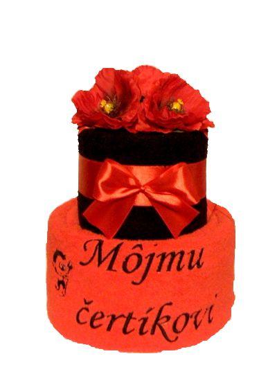 Môjmu čertíkovi :) - originálna uteráková torta z kvalitných uterákov