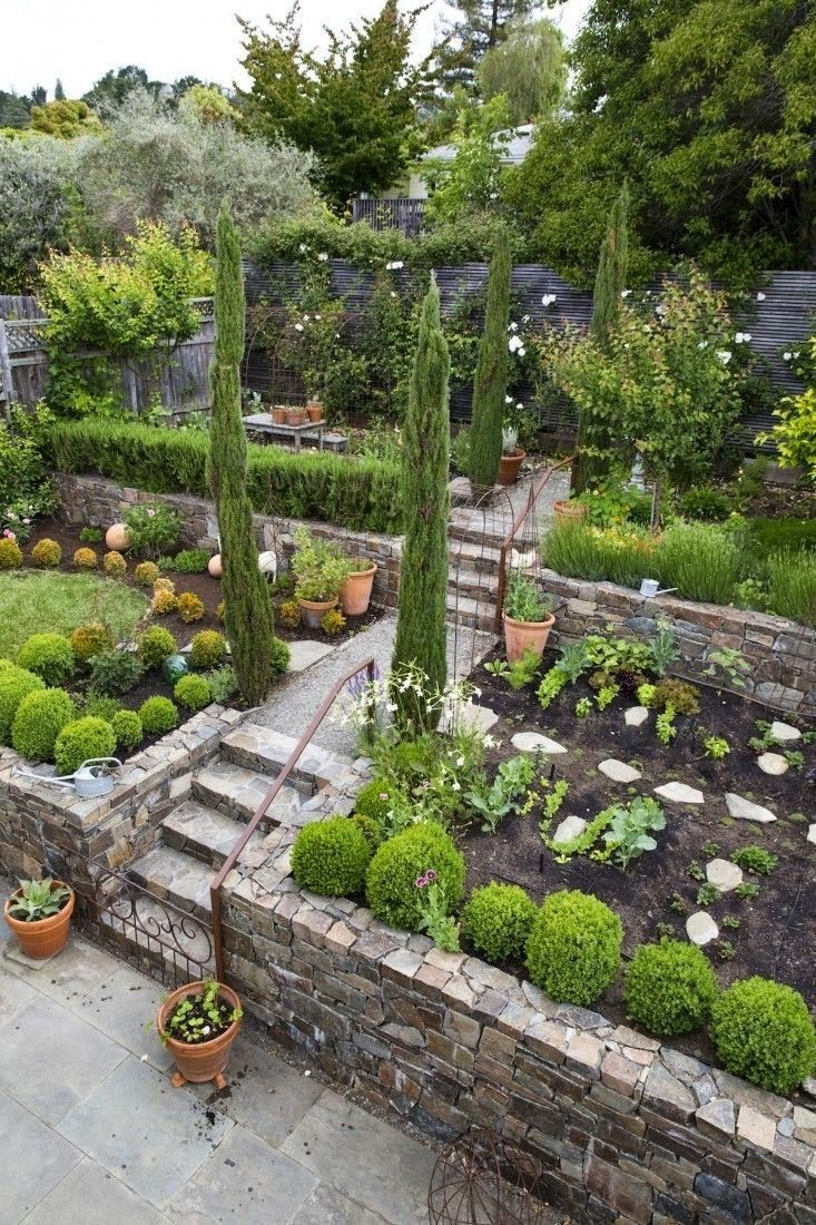 Mediterranean Backyard Garden Gardenista Would Make A Terrific Vege Or Herb Garden For A Sloped Yard Sloped Garden Sloped Backyard Landscaping Sloped Backyard
