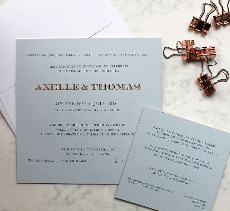 spanish wedding invitations uk%0A Litho printed wedding stationery on Cool Blue    GSM with complementary  copper foil and foil gilt edging