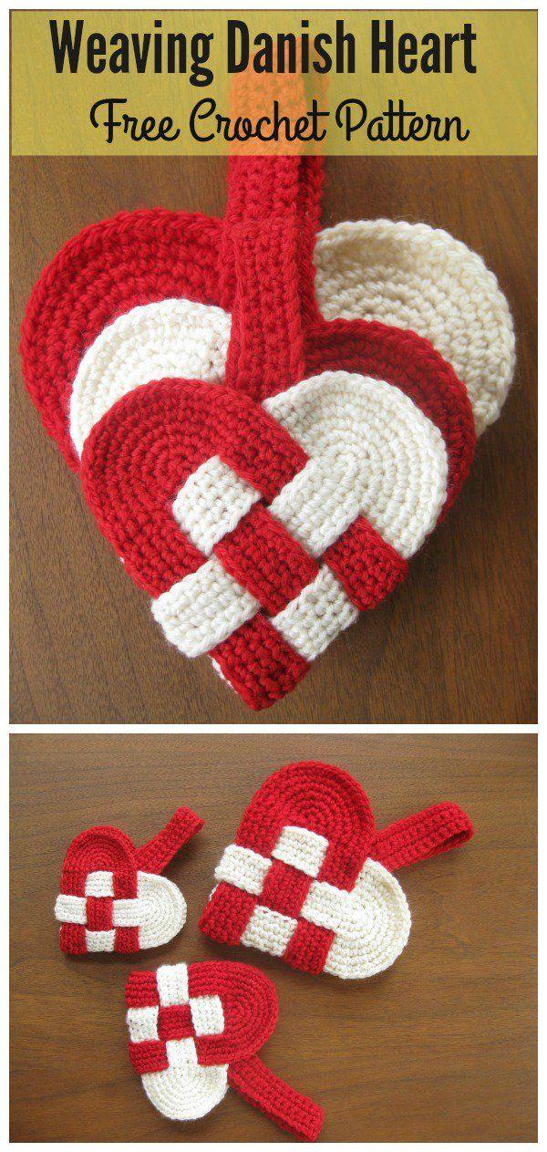 Weaving Danish Heart Free Crochet Pattern #Valentines
