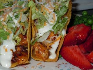 This looks yummy! Chicken ranch tacos.....1 pkg ranch dress, 1 pkg taco seasoning, 1 can chicken broth, pour over chicken breast in crock pot and get ready to be wowed.