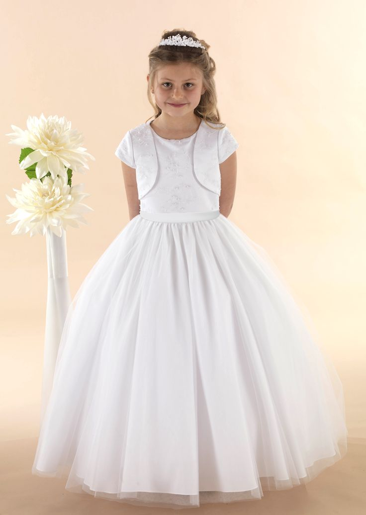 "Lace Bodice Communion Gown with Tulle Skirt Lace Bodice & Jacket "" Daisy"""