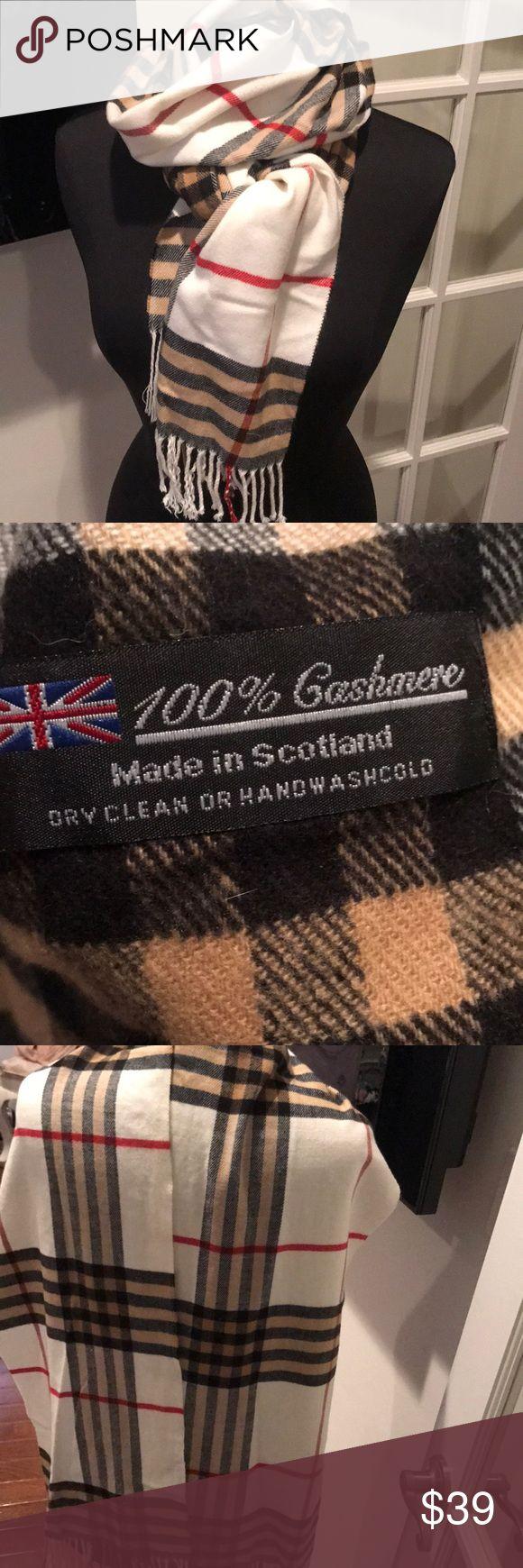 Unisex cashmere white/blk/tan/red stripe scarf Cashmere white/black/red/tan stripe Scottish/English design scarf no name Accessories Scarves & Wraps