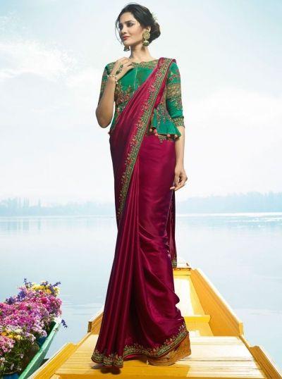 0bb3605370 Buy Magenta Color Barfi silk designer party wear saree in UK, USA ...