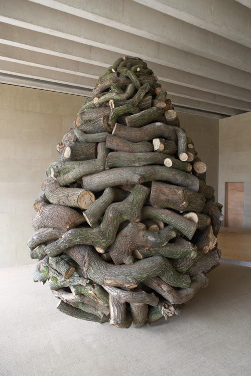 Andy Goldsworthy. <em>Stacked Oak</em>, 2007. Branches from trees being felled locally. Collected during the installation, with permission from Job Earnshaw & Bros Ltd. Photo: Jonty Wilde.