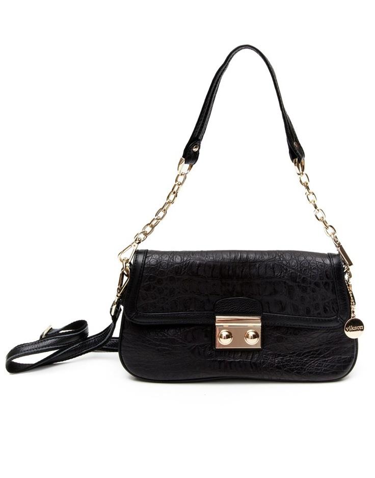 Genuine leather croc clutch bag