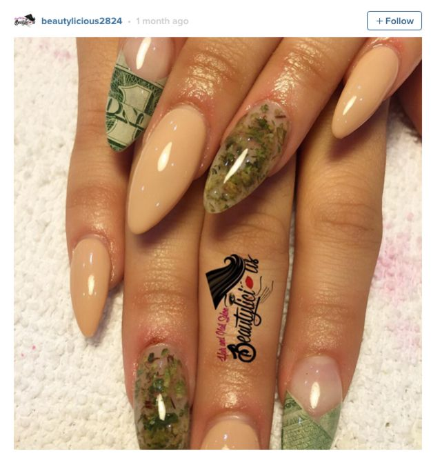 People Are Using Actual Pot To Get These Amazing Weed Manicures Misc Pinterest Nails And Nail Art