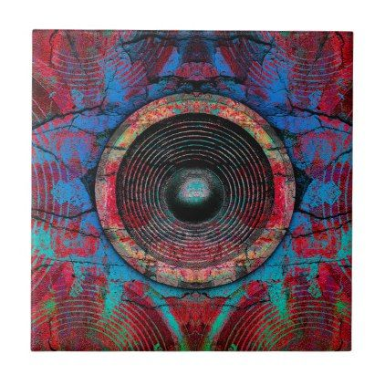 Red music speakers on a cracked wall ceramic tile - cool gift idea unique present special diy
