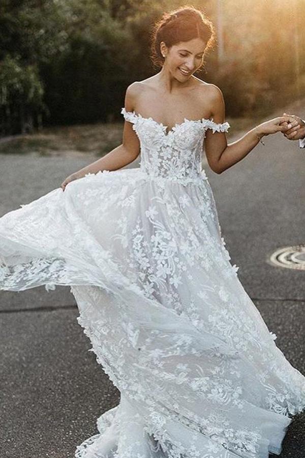 A-Line Off-the-Shoulder Boho Wedding Dress with Appliques TN126