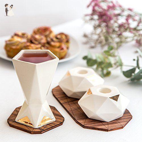 Modern Judaica Wedding Set, Pair of Hexagon Shabbat Candlesticks + Kiddush Cup, White Ceramic with 24K Gold Accent, Handmade in Israel - Wedding table decor (*Amazon Partner-Link)