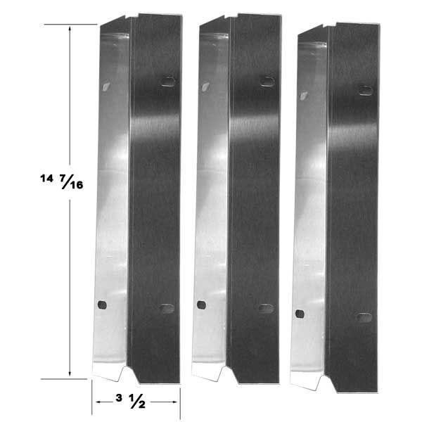 3 PACK STAINLESS STEEL HEAT SHIELD MASTER COOK, SHINERICH, TERA GEAR, OUTDOOR GOURMET GAS GRILL MODELS Fits Compatible Master Cook Models : SRGG30001B