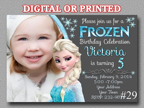 Disney Frozen Invitation with Photo Chalkboard by LetsPartyShoppe