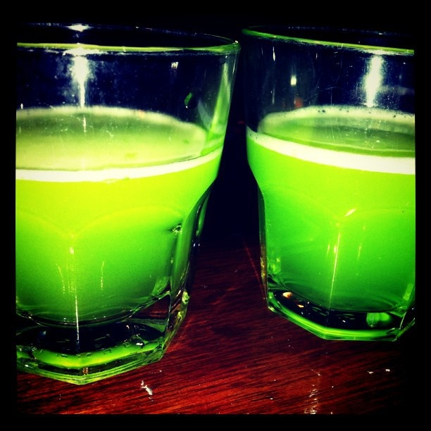 Liquid Marijuana    1/2 oz Captain Morgan® spiced rum  1/2 oz Blue Curacao liqueur  1/2 oz Malibu® coconut rum  1/2 oz Midori® melon liqueur  12 oz pineapple juice  1 splash sweet and sour Mix