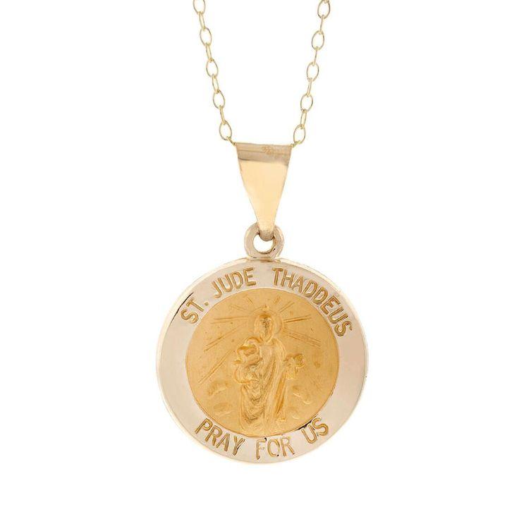 Pori 14k Yellow St. Jude Thaddeus Medal Necklace
