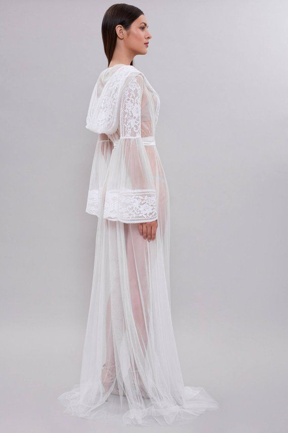 a78cc942b42 Long Tulle Bridal Robe F15 Bridal Lingerie Wedding Lingerie