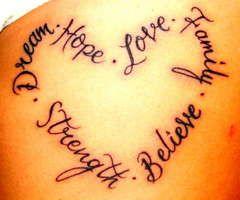 Love Hope Dream heart tattoo