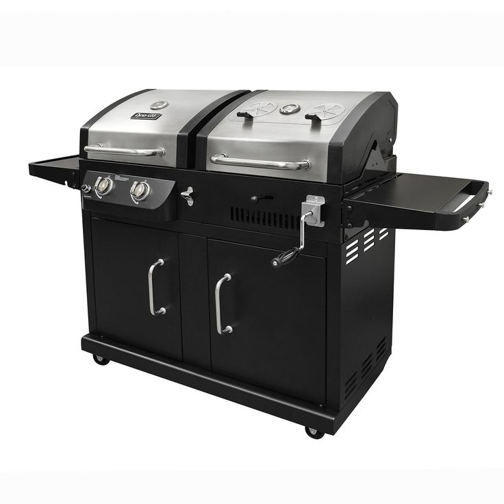 Dyna-Glo DGB730SNB-D 2-Burner Stainless Steel Gas and Charcoal BBQ Grill   from hayneedle.com