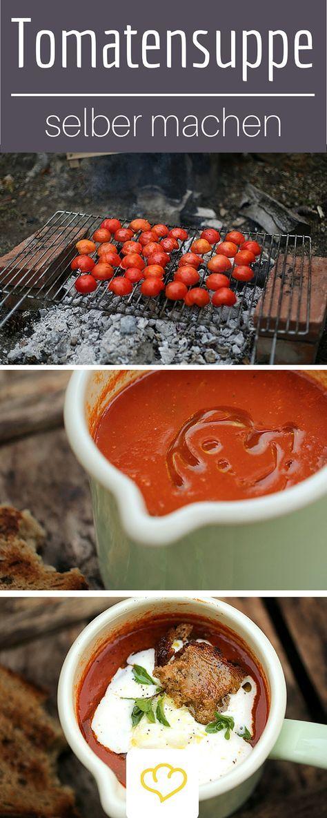 Die vielleicht beste Tomaten-Suppe aller Zeiten! Ganz nach amerikanischem Vorbild haben wir die Tomaten zuerst über Holzfeuer geröstet und dann Suppe daraus gekocht.  Alternativ könnt ihr die Tomaten auch im Backofen rösten. Das gibt zwar kein Raucharoma, verleiht der Suppe aber trotzdem mehr Tiefe.
