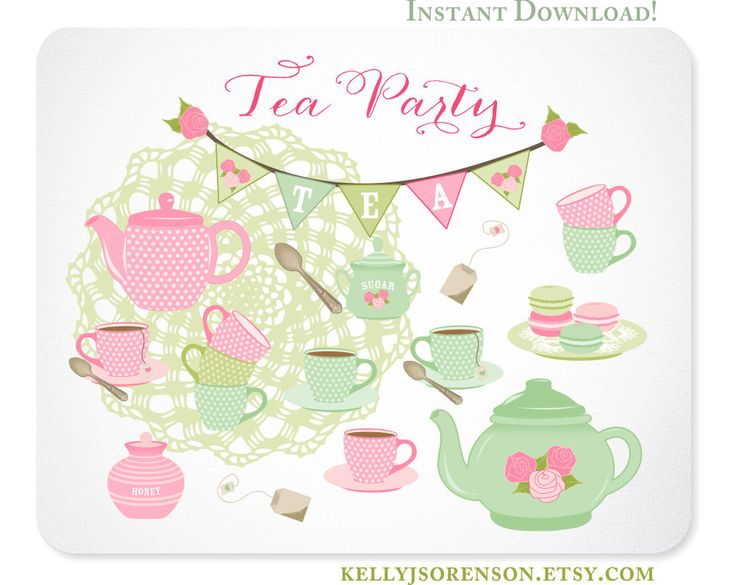 Tea Party Clipart - Shabby Chic - Doily Bunting Tea Set Macarons - Instant Download (4.97 USD) by KellyJSorenson