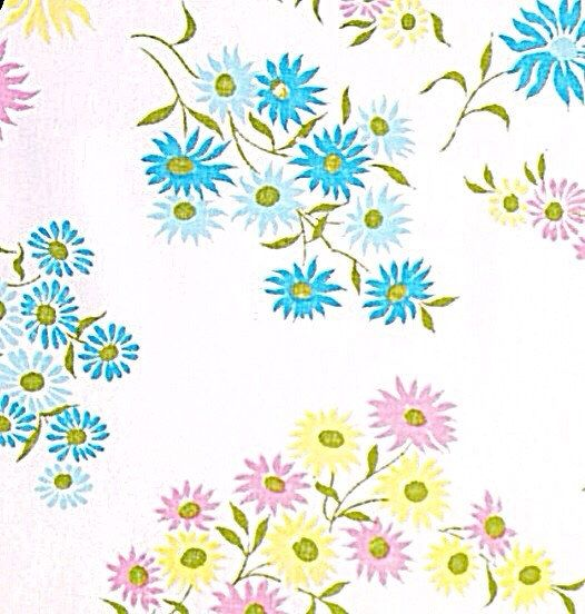 Vintage Fabric: 1960s Bright Pink Aqua Yellow Cornflower Blue Daisies in White Background Midcentury Mod FQ cut from upcycled bed sheet by PaperAndRagVintage on Etsy https://www.etsy.com/listing/212060566/vintage-fabric-1960s-bright-pink-aqua