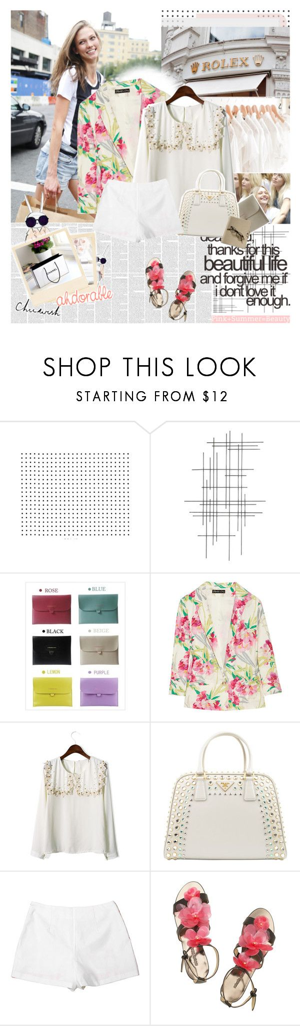 """""""now my life is sweet like cinnamon"""" by hug-voldemort ❤ liked on Polyvore featuring Crate and Barrel, Tiffany & Co., Elizabeth and James, Prada, Roberto Cavalli, Chicwish, studded handbags, lace, high-waisted shorts and flower sandals"""