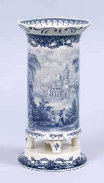 BLUE & WHITE TOILE TRANSFERWARE FLOWER VASE VICTORIAN STYLE 8 INCHES | eBay