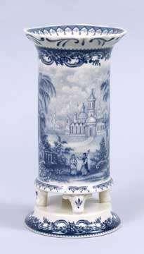 BLUE & WHITE TOILE TRANSFERWARE FLOWER VASE VICTORIAN STYLE 8 INCHES   eBay