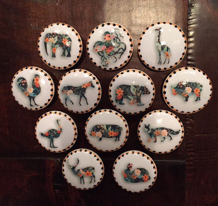 1.5 Inch Floral Animal Cabinet Knobs Drawer Pulls Horse Elephant Giraffe  Rooster Buffalo Fox By HolyChicBoutiqueCo