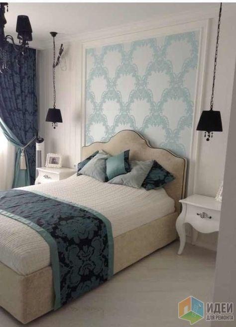Кровать в спальне, интерьер спальни в голубых тонах
