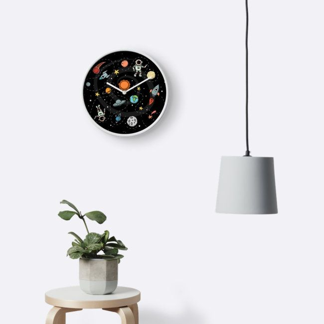 Outer Space Illustration by Gordon White | Wall Clock Available in 3 Frame Colors @redbubble  --------------------------- #redbubble #sticker #wallclock #homedecor --------------------------- http://www.redbubble.com/people/big-bang-theory/works/22569162-outer-space-planetary-illustration?asc=u&p=clock&rel=carousel
