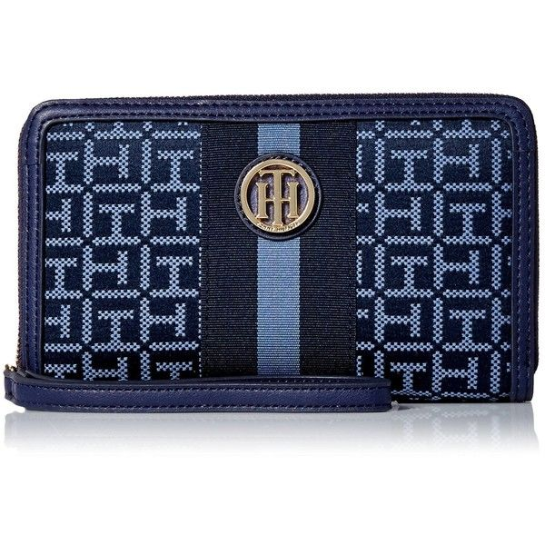 Tommy Hilfiger Signature Jacq Wristlet ($58) ❤ liked on Polyvore featuring bags, handbags, clutches, blue handbags, tommy hilfiger handbags, wristlet clutches, jacquard handbags and wristlet purse