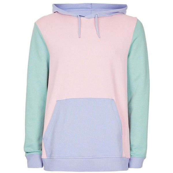 822717ed2 TOPMAN Pastel Colorblock Hoodie ($33) ❤ liked on Polyvore featuring ...