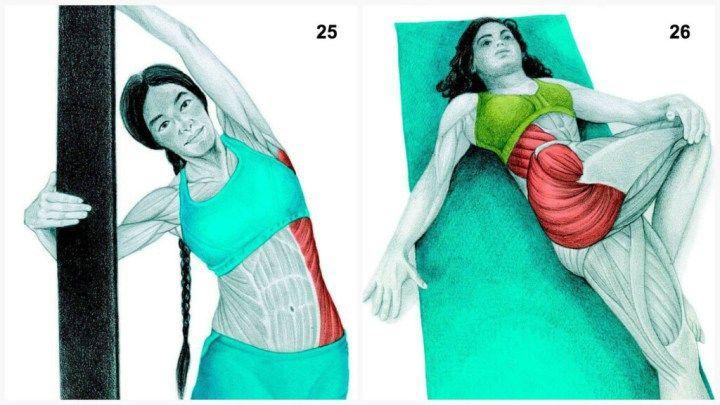 X1825. Задействованные мышцы: наружные косые  Выполнение: выпрямив позвоночник, медленно отведите бедра в сторону. При проблемах с поясницей воздержитесь от упражнения.  26. Задействованные мышцы: ягодичные и наружные косые  Выполнение: лягте на спину, переведите одну ногу через все тело, медленно поворачивая туловище в противоположном направлении.