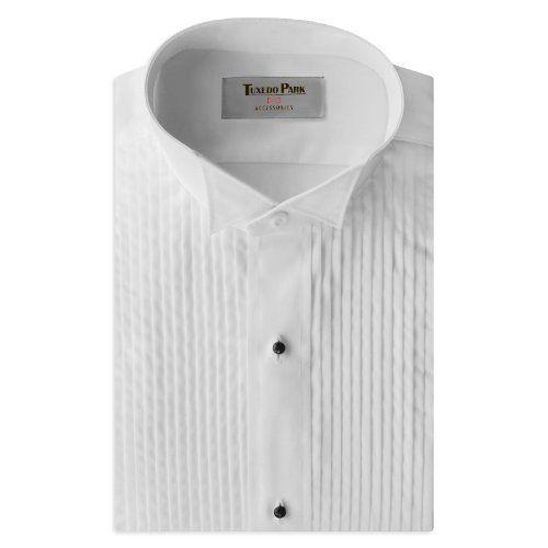 "Tuxedo Shirt- White Wing Collar 1/4"" Pleat:Amazon:Clothing"
