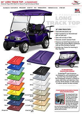"EZGO, Club Car Yamaha Golf Cart Canopy Extended 4 Pass 80"" Roof Top 18 Colors"