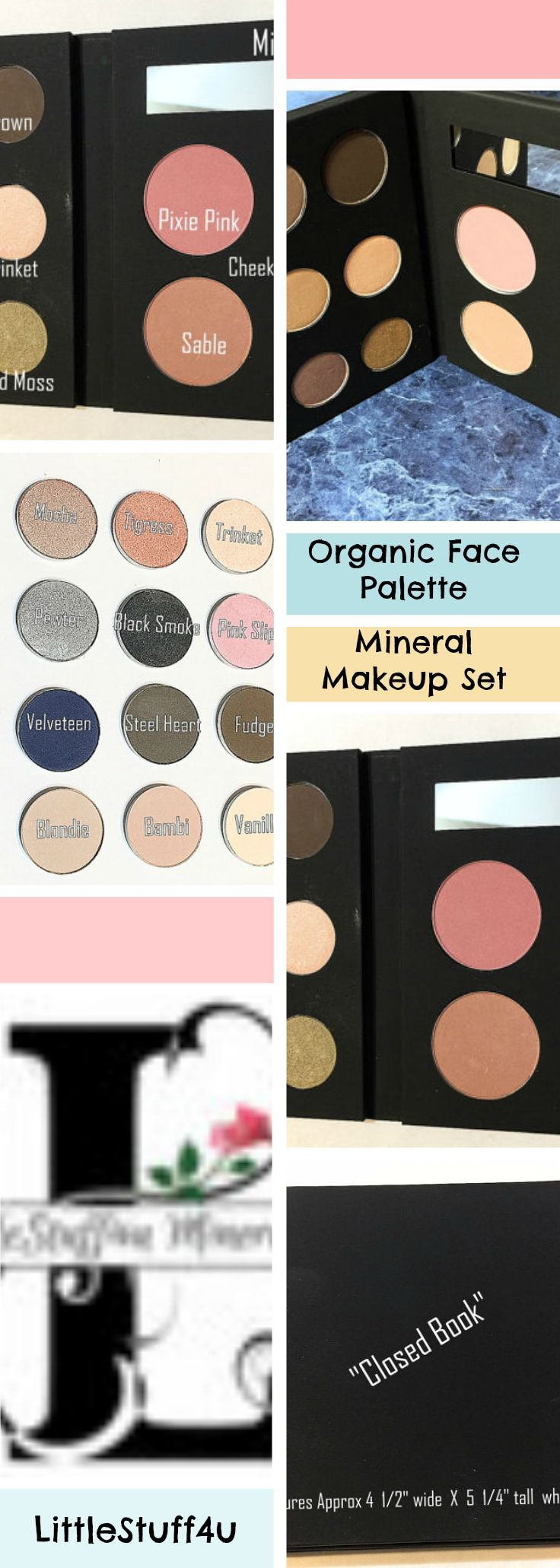 ORGANIC FACE PALETTE Mineral Makeup - Natural Eye Shadow and Cheek Color - Botanical Plant Makeup - Gluten Free Vegan Makeup - Giftset #makeup #eyeshadow #vegan #beauty #afflink
