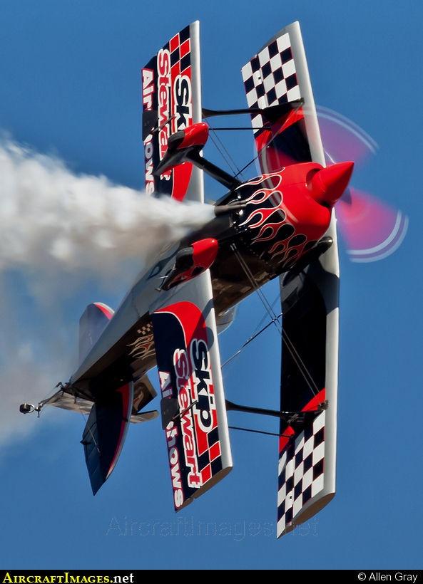 "Skip Stewart's Pitts S-2S ""muscle bi-plane"" named Prometheus."
